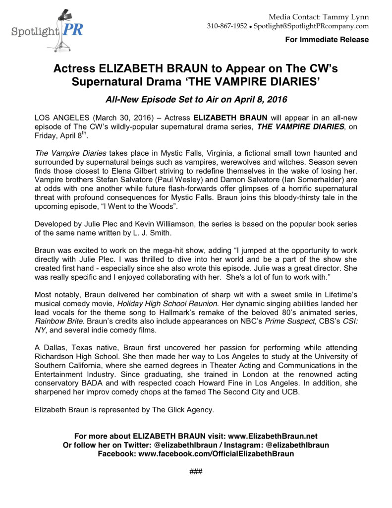 Elizabeth Braun - The Vampire Diaries - press release 04-16